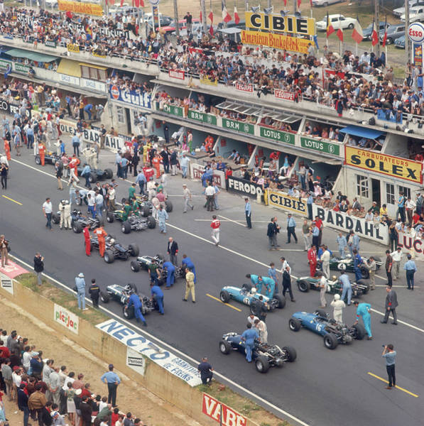 Motor Sport Photograph - Cars Lining Up On The Starting Grid by Heritage Images