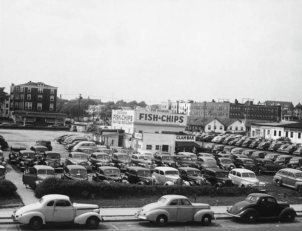 Parking Photograph - Cars On Parking In Asbury Park, Nj, B&w by George Marks