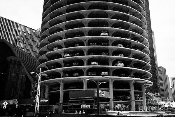 Wall Art - Photograph - cars parked in the parking lot section of marina city Chicago IL USA by Joe Fox