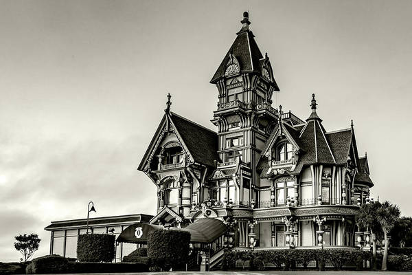 Photograph - Carson Mansion Black And White by Bill Gallagher