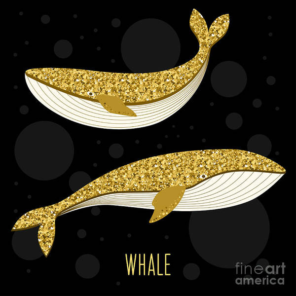 Books Wall Art - Digital Art - Cartoon Abstract Whale Set. Golden by Vanillamilk