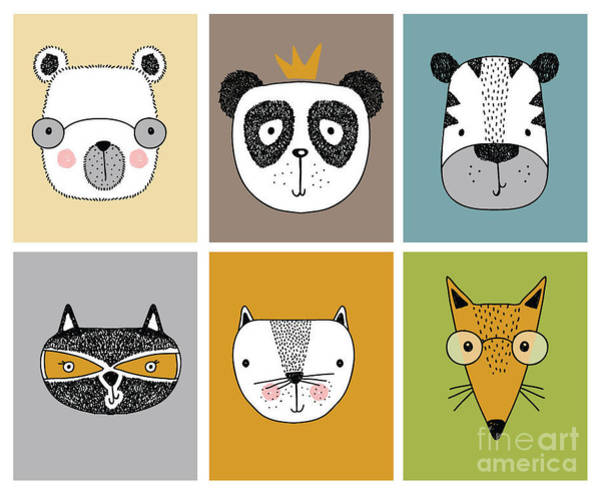 Wall Art - Digital Art - Cartoon Animal Set Vector  Children by Mehmet Guney