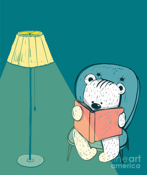 Wall Art - Digital Art - Cartoon Baby Bear Reading A Book. Hand by Popmarleo