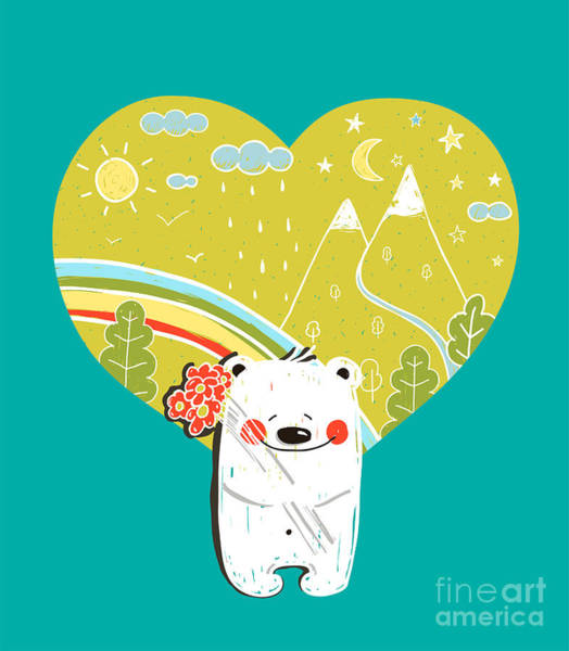 Wall Art - Digital Art - Cartoon Baby Bear With Nature Heart by Popmarleo