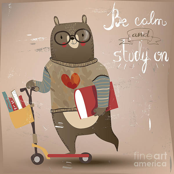 Cartoon Bear On The Scooter Art Print