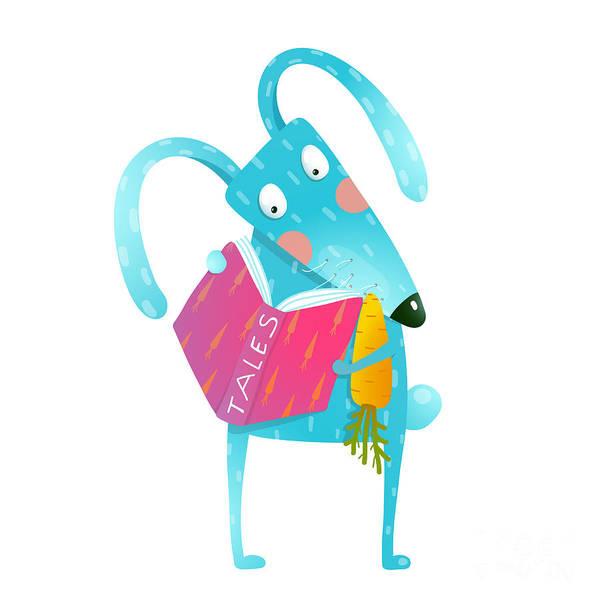 Wall Art - Digital Art - Cartoon Blue Bunny Reading Book Eating by Popmarleo