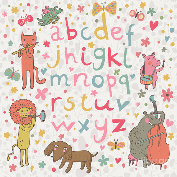 Wall Art - Digital Art - Cartoon Childish Alphabet With Animals by Smilewithjul