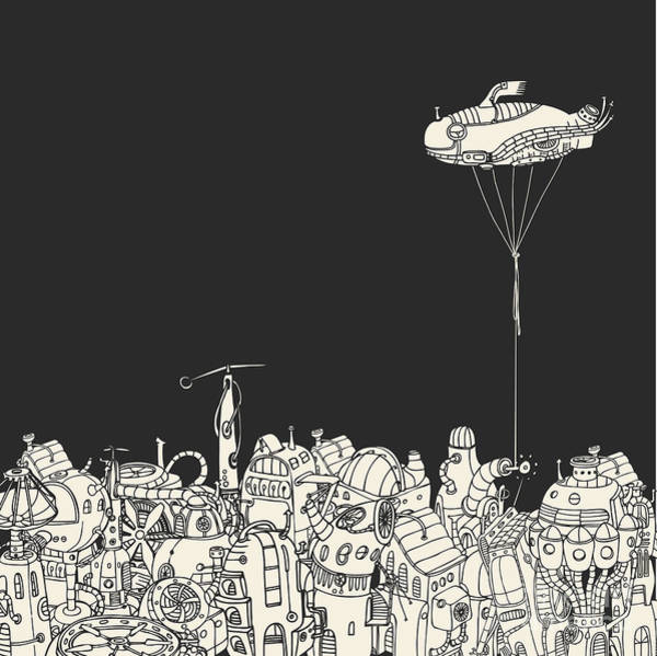 Wall Art - Digital Art - Cartoon City With Fish Eye Zeppelin by Ryger