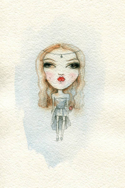 Colored Glass Digital Art - Cartoon Cute Child Girl  . Watercolor by Anna Ismagilova