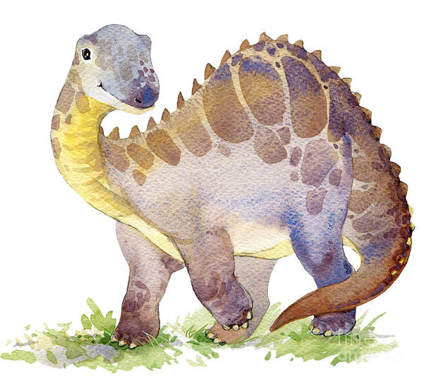 Evolution Wall Art - Digital Art - Cartoon Dinosaur Watercolor by Faenkova Elena