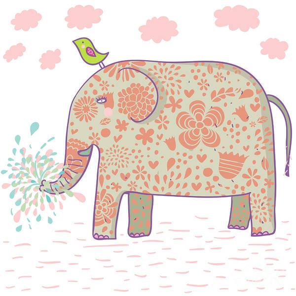 Wall Art - Digital Art - Cartoon Elephant Design. This by Smilewithjul