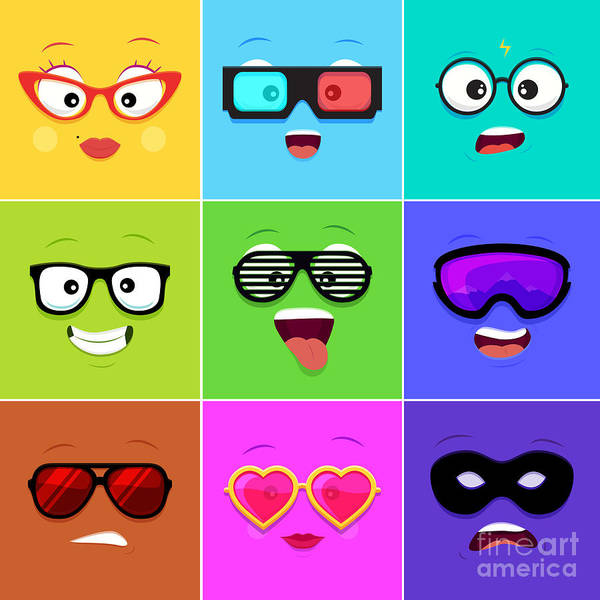 Wall Art - Digital Art - Cartoon Faces With Emotions V.12 - by Angelsid