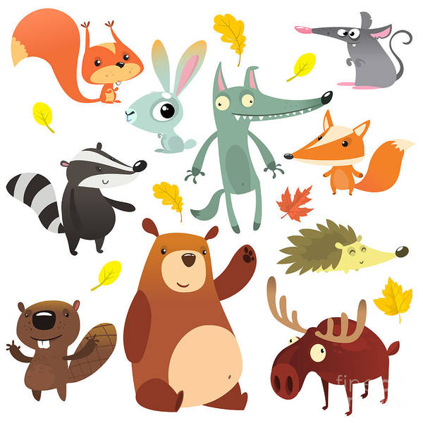 Wall Art - Digital Art - Cartoon Forest Animal Characters. Wild by Drawkman