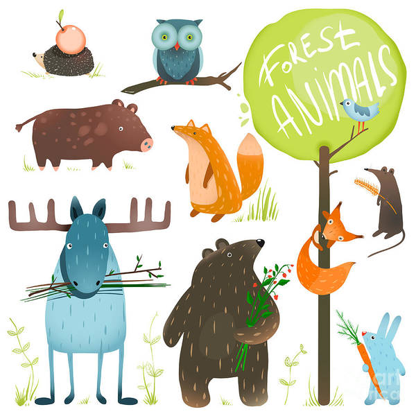 Wall Art - Digital Art - Cartoon Forest Animals Set. Brightly by Popmarleo