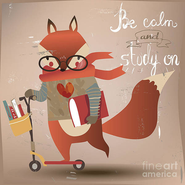 Ride Digital Art - Cartoon Fox With Books by Elena Barenbaum