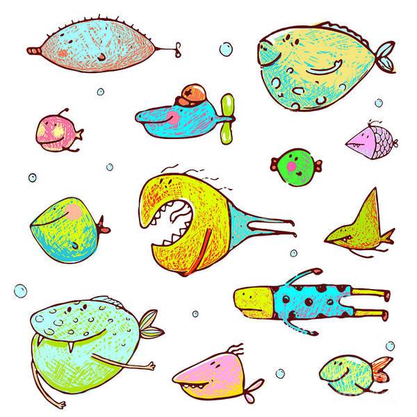 Bubble Digital Art - Cartoon Fun Humorous Fish Drawing by Popmarleo