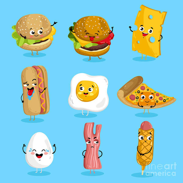 Wall Art - Digital Art - Cartoon Funny Fast Foods Characters by Studioworkstock