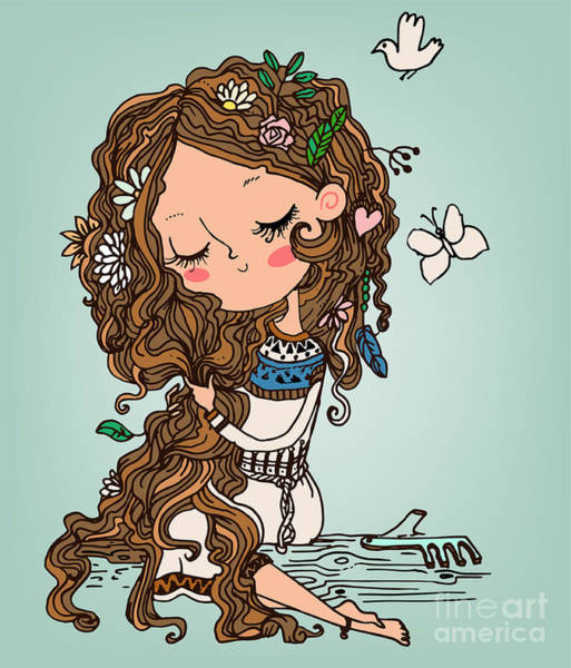 Wall Art - Digital Art - Cartoon Girl With Long Hairs by Elena Barenbaum