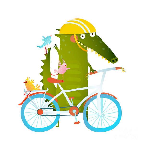 Wall Art - Digital Art - Cartoon Green Funny Crocodile In Helmet by Popmarleo