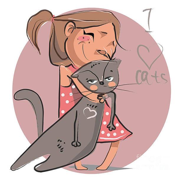 Wall Art - Digital Art - Cartoon Illustration Of Girl With by Elena Barenbaum