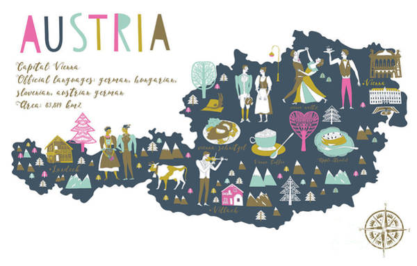 Wall Art - Digital Art - Cartoon Map Of Austria With Legend Icons by Lavandaart
