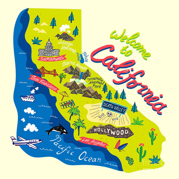 Wall Art - Digital Art - Cartoon Map Of California.travels by Daria i