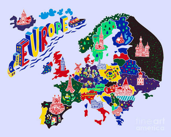 Wall Art - Digital Art - Cartoon  Map Of Europe. Travels by Daria i