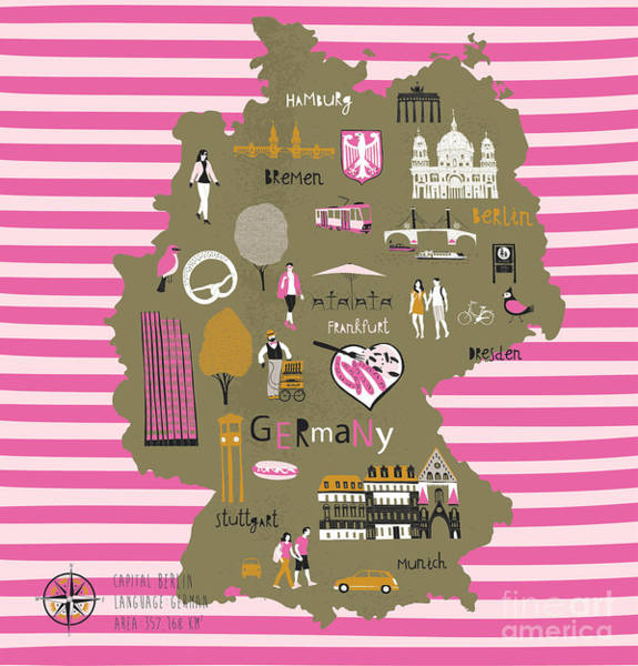 Wall Art - Digital Art - Cartoon Map Of Germany With Legend Icons by Lavandaart