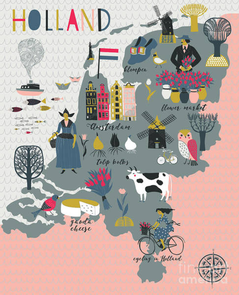 Wall Art - Digital Art - Cartoon Map Of Holland With Legend Icons by Lavandaart