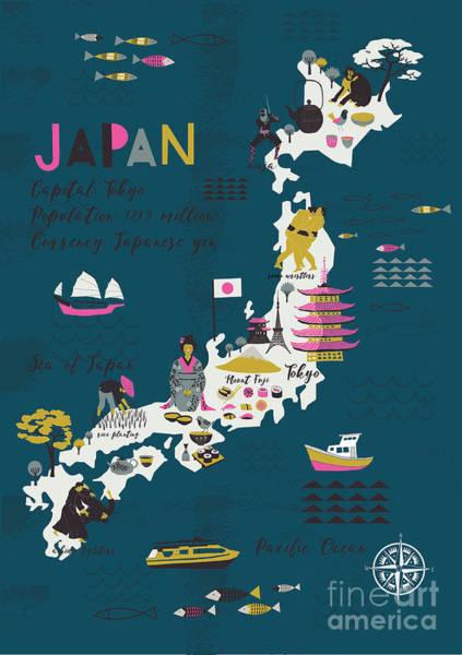 Wall Art - Digital Art - Cartoon Map Of Japan. Print Design by Lavandaart