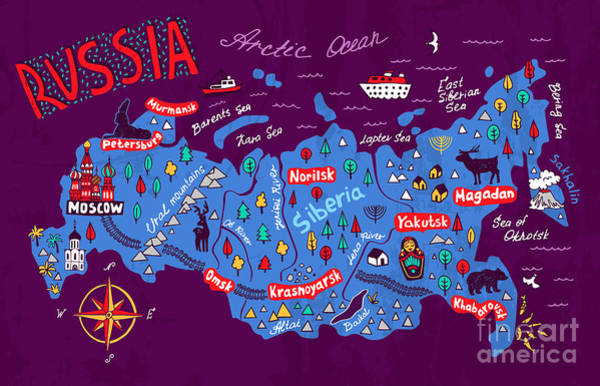Wall Art - Digital Art - Cartoon Map Of Russia. Travels by Daria i