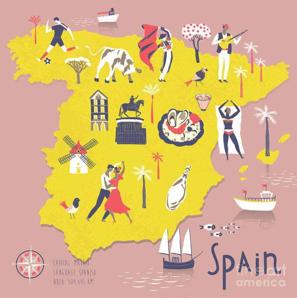 Wall Art - Digital Art - Cartoon Map Of Spain With Legend Icons by Lavandaart
