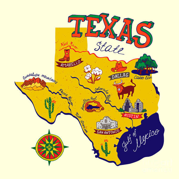 Wall Art - Digital Art - Cartoon Map Of Texas.travels by Daria i