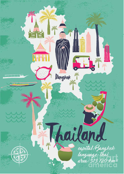 Wall Art - Digital Art - Cartoon Map Of Thailand. Print Design by Lavandaart