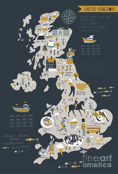 Wall Art - Digital Art - Cartoon Map Of United Kingdom With by Lavandaart