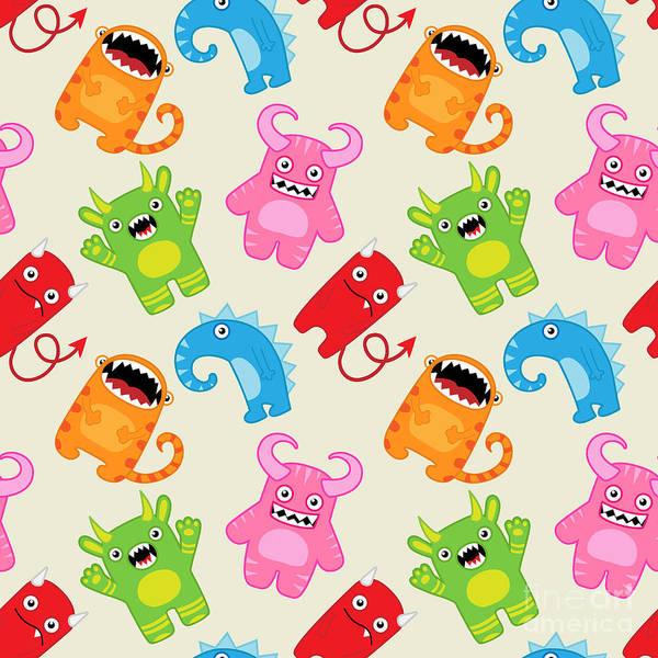 Cartoon Character Wall Art - Digital Art - Cartoon Monsters Seamless Pattern by Yulia M