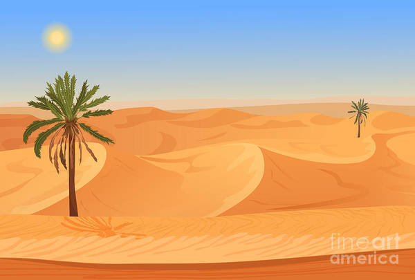 Wall Art - Digital Art - Cartoon Nature Sand Desert Landscape by Lemberg Vector Studio