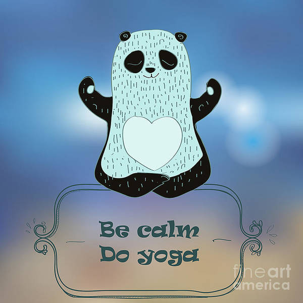 Wall Art - Digital Art - Cartoon Panda Bear Making Yoga by Elena Barenbaum
