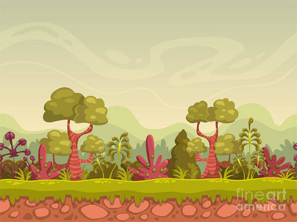 Wall Art - Digital Art - Cartoon Seamless Nature Landscape by Lilu330
