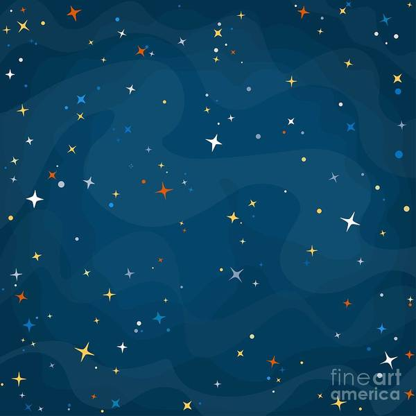 Wall Art - Digital Art - Cartoon Space Background With Colorful by Elena Eskevich