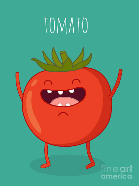 Ingredient Digital Art - Cartoon Tomato With Eyes And Smiling by Serbinka
