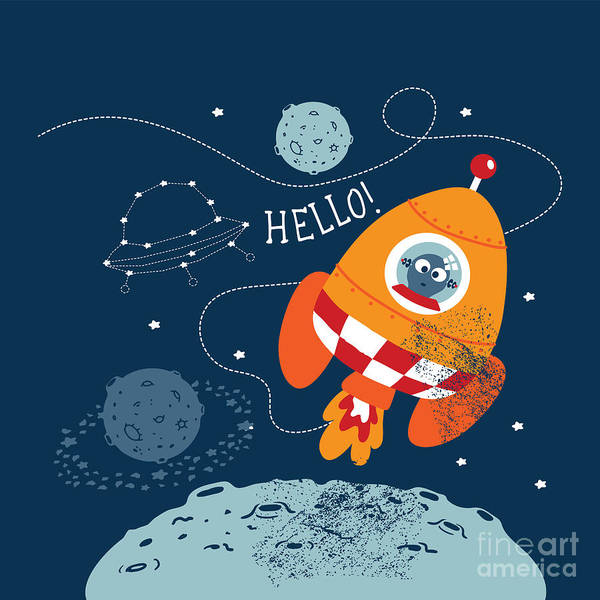 Spacecraft Wall Art - Digital Art - Cartoon Vector Illustration Of Space by Graphic7