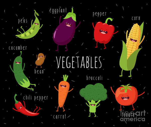Cartoon Vegetables Illustration On Art Print by Serbinka