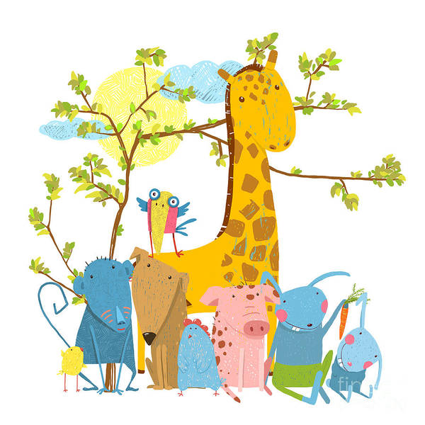 Wall Art - Digital Art - Cartoon Zoo Friends Animals Group by Popmarleo