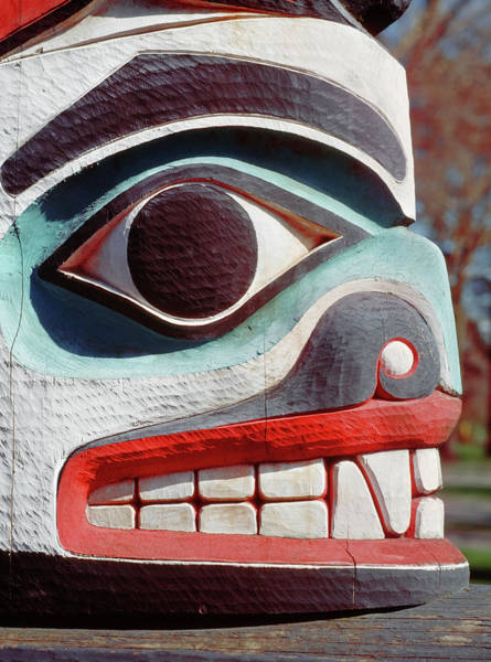 Totem Pole Wall Art - Photograph - Carving Detail From A Native American by Harald Sund