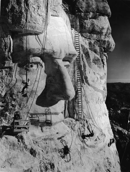 Rushmore Photograph - Carving Lincolns Head by Frederic Lewis