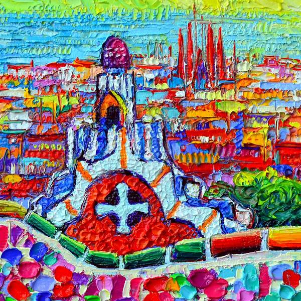 Painting - Casa Del Guarda And Sagrada Familia From Park Guell Textural Impasto Knife Oil Painting Ana Maria Ed by Ana Maria Edulescu