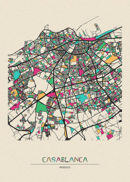 Wall Art - Drawing - Casablanca, Morocco City Map by Inspirowl Design
