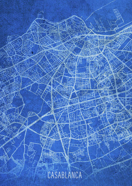 Wall Art - Mixed Media - Casablanca Morocco City Street Map Blueprints by Design Turnpike