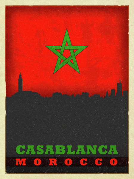 Wall Art - Mixed Media - Casablanca Morocco World City Flag Skyline by Design Turnpike